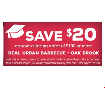 Save $20 your catering order of $100 or more