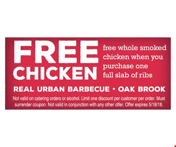 Free Chicken with purchase of one full slab of ribs