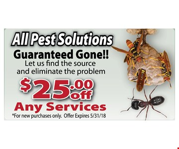 All Pest Solutions. $25 off any services