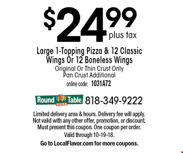 LocalFlavorcom Round Table Pizza For Worth Of Casual - Round table delivery fee