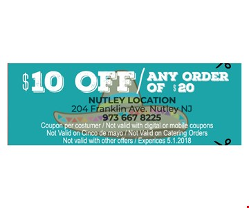 $10 Off any order of $20