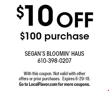 $10 off $100 purchase. With this coupon. Not valid with other  offers or prior purchases.Expires 6-29-18.Go to LocalFlavor.com for more coupons.