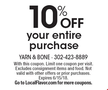 10% OFF your entire purchase. With this coupon. Limit one coupon per visit. Excludes consignment items and food. Not valid with other offers or prior purchases. Expires 6/15/18. Go to LocalFlavor.com for more coupons.