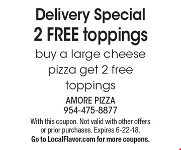 Delivery Special. 2 free toppings! Buy a large cheese pizza get 2 free toppings. With this coupon. Not valid with other offers or prior purchases. Expires 6-22-18. Go to LocalFlavor.com for more coupons.
