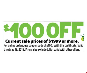 $100 Off any sale price of $1,999 or more