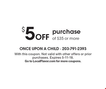 $5Off purchase of $35 or more. With this coupon. Not valid with other offers or prior purchases. Expires 5-11-18.Go to LocalFlavor.com for more coupons.