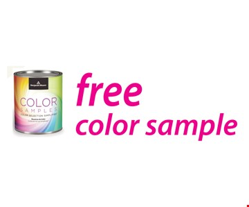 Free color sample. Offer expires 9/14/18.