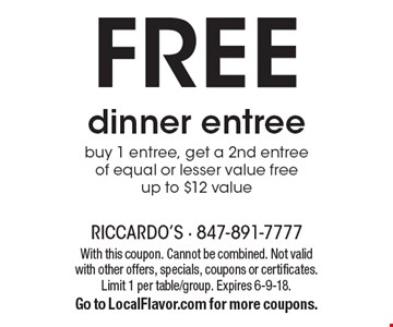 Free dinner entree. Buy 1 entree, get a 2nd entree of equal or lesser value free. Up to $12 value. With this coupon. Cannot be combined. Not valid with other offers, specials, coupons or certificates. Limit 1 per table/group. Expires 6-9-18. Go to LocalFlavor.com for more coupons.