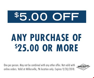 $5 Off any purchase of $25 or more. Expires 9/30/2018.
