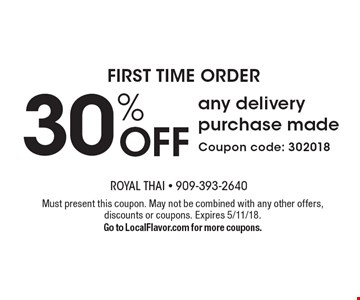 first time order 30% OFF any delivery purchase made Coupon code: 302018. Must present this coupon. May not be combined with any other offers, discounts or coupons. Expires 5/11/18. Go to LocalFlavor.com for more coupons.