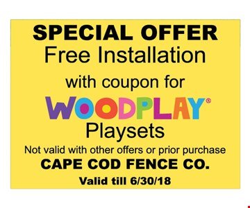 Free installation with coupon for Woodplay Playsets
