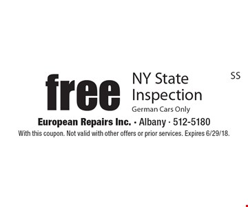 free NY State Inspection German Cars Only. With this coupon. Not valid with other offers or prior services. Expires 6/29/18.