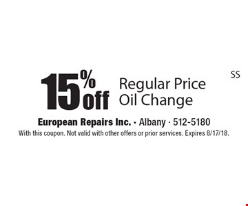 15% off Regular Price Oil Change. With this coupon. Not valid with other offers or prior services. Expires 8/17/18.