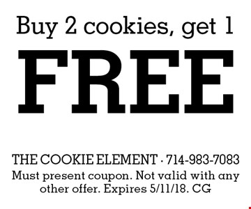 Buy 2 cookies, get 1 free. Must present coupon. Not valid with any other offer. Expires 5/11/18. CG