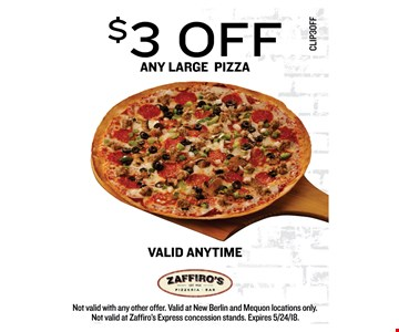 $3 OFF any large Pizza