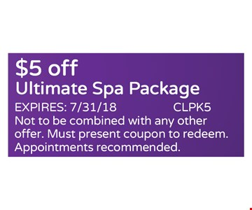 $5 off ultimate spa package