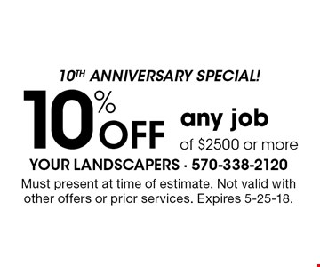 10th anniversary special! 10% off any job of $2500 or more. Must present at time of estimate. Not valid with other offers or prior services. Expires 5-25-18.