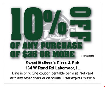 10% off any purchase of $25 or more