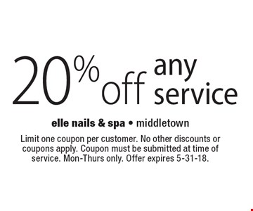 20%off any service. Limit one coupon per customer. No other discounts or coupons apply. Coupon must be submitted at time of service. Mon-Thurs only. Offer expires 5-31-18.