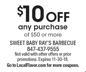 $10 Off any purchase of $50 or more. Not valid with other offers or prior promotions. Expires 11-30-18.Go to LocalFlavor.com for more coupons.