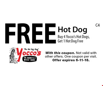 Free Hot Dog. Buy 4 Yocco's Hot Dogs, Get 1 Hot Dog Free. With this coupon. Not valid with other offers. One coupon per visit. Offer expires 6-11-18.