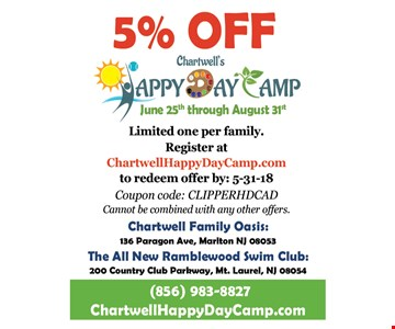 5% Off Chartwell Happy Day Camp. Limited one per family. Redeem by 5-31-18. Coupon code: CLIPPERHDCAD. Cannot be combined with other offers.