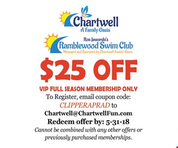 $25 Off VIP Full Season Membership. Redeem by 5-31-18. Coupon code: CLIPPERAPRAD. Cannot be combined with other offers or previously purchased memberships.