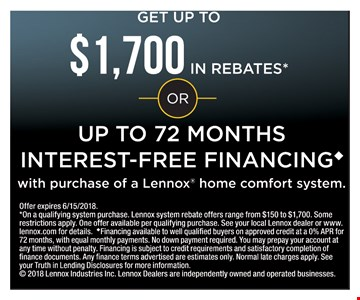 Up to $1,700 in rebates or up to 72 months interest-free financing.