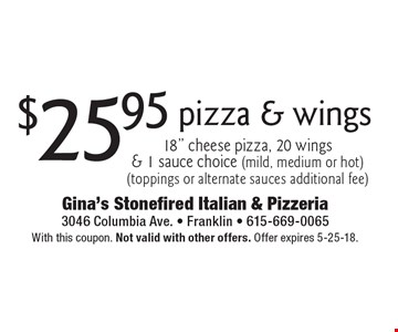 $25.95 pizza & wings 18