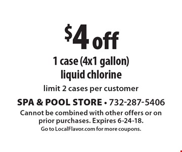 $4 off 1 case (4x1 gallon) liquid chlorine. Limit 2 cases per customer. Cannot be combined with other offers or on prior purchases. Expires 6-24-18. Go to LocalFlavor.com for more coupons.