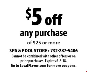 $5 off any purchase of $25 or more. Cannot be combined with other offers or on prior purchases. Expires 6-8-18. Go to LocalFlavor.com for more coupons.