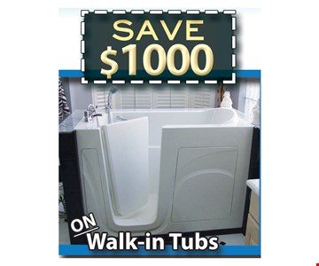 Save $1,000 On Walk-in Tubs