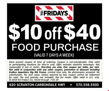 $10 OFF $40 Food Purchase