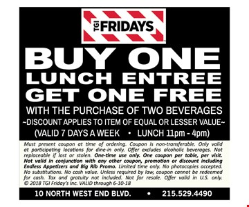 buy one lunch entree get one free