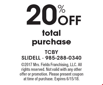 20% Off total purchase. 2017 Mrs. Fields Franchising, LLC. All rights reserved. Not valid with any other offer or promotion. Please present coupon at time of purchase. Expires 6/15/18.