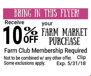 10% off your farm market purchase