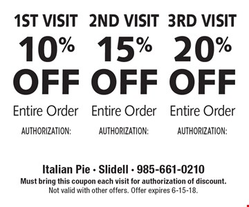 1st Visit 10% off entire order or 2nd Visit 15% off entire order or 3rd Visit 20% off entire order. Must bring this coupon each visit for authorization of discount. Not valid with other offers. Offer expires 6-15-18.
