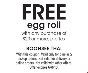 Free egg roll with any purchase of $20 or more, pre-tax. With this coupon. Valid only for dine in & pickup orders. Not valid for delivery or online orders. Not valid with other offers. Offer expires 6/8/18.