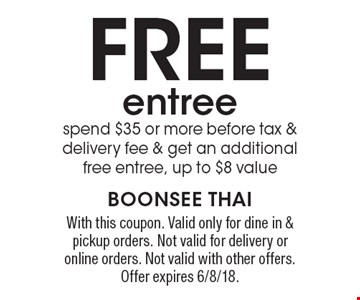 Free entree! spend $35 or more, before tax & delivery fee & get an additional free entree, up to $8 value. With this coupon. Valid only for dine in & pickup orders. Not valid for delivery or online orders. Not valid with other offers. Offer expires 6/8/18.