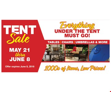 Tent Sale, everything must go!