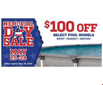 $100 off select pool models