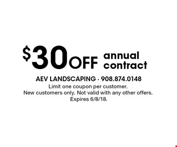 $30 Off annual contract. Limit one coupon per customer. New customers only. Not valid with any other offers. Expires 6/8/18.