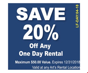 Save 20% on any one day rental