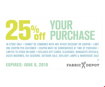 25% off your purchase.