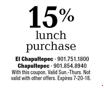 15% off lunch purchase. With this coupon. Valid Sun.-Thurs. Not valid with other offers. Expires 7-20-18.