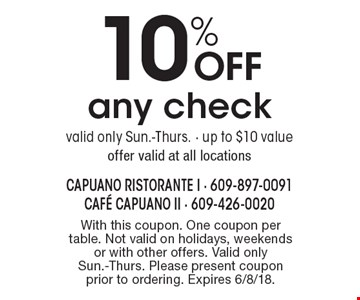 10% Off any check. Valid only Sun.-Thurs. - up to $10 value. Offer valid at all locations. With this coupon. One coupon per table. Not valid on holidays, weekends or with other offers. Valid only Sun.-Thurs. Please present coupon prior to ordering. Expires 6/8/18.