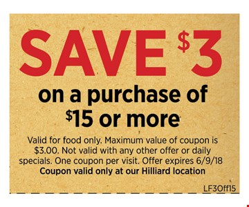 Save $3 on a purchase of $15 or More