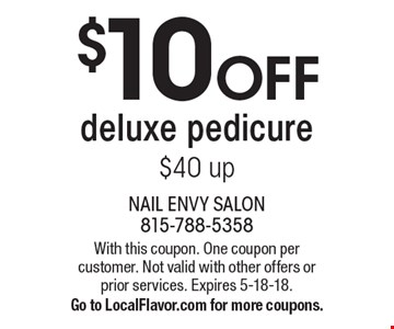$10 OFF deluxe pedicure $40 up. With this coupon. One coupon per customer. Not valid with other offers or prior services. Expires 5-18-18. Go to LocalFlavor.com for more coupons.