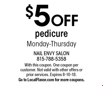 $5 OFF pedicure Monday-Thursday. With this coupon. One coupon per customer. Not valid with other offers or prior services. Expires 8-10-18. Go to LocalFlavor.com for more coupons.