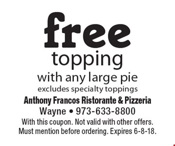 Free topping with any large pie. Excludes specialty toppings. With this coupon. Not valid with other offers. Must mention before ordering. Expires 6-8-18.